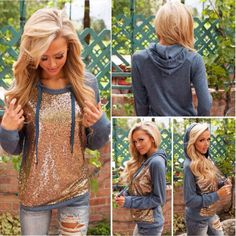 Women Long Sleeve Sequins Hoodie Sweatshirt Jumper Sweater Pullover Tops Coat in Clothing, Shoes & Accessories, Women's Clothing, Coats & Jackets | eBay