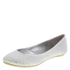 Arianna, heres your wedding shoe. This pretty ballet flat from Unforgettable Moments features a satin upper enhanced with brilliant round rhinestones, pearlized lining with soft fabric heel, padded insole, and a flexible outsole. Manmade materials.