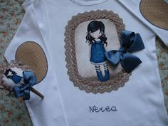 Camiseta Gorjuss Nerea 3 Diy, Purses, Sewing, Home Decor, Shirts, Block Prints, Outfit, Appliques, Ornaments