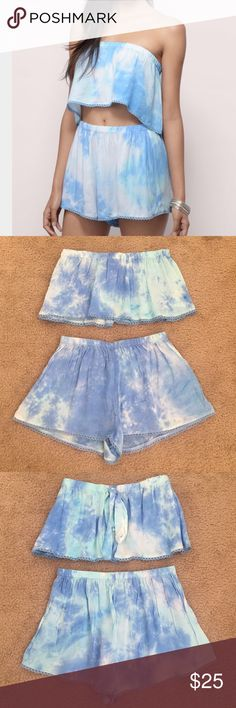 Tobi Tie Dye Blue Crop Top & Short Set Size S New without tags. No trades or unreasonable offers please! Tobi Pants Jumpsuits & Rompers