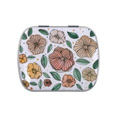 Watercolor and ink flowers  vintage palette candy tin - watercolor gifts style unique ideas diy