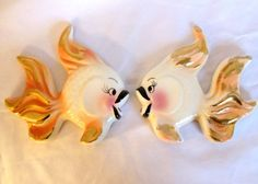 Vintage Lefton  kissing FISH Wall Plaques 1950's Decor Two Girls ?