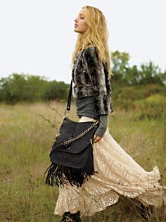 Bohemian Style...Black Fringed Satchel...Flowing Skirt...Long Tee...Cropped Jacket