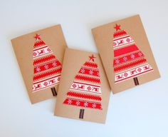 Ribbon Christmas Cards - red - northstory