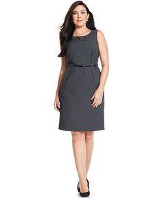 Calvin Klein Plus Size Dress, Sleeveless Belted Sheath