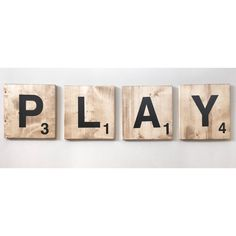 Perfect sign for any playroom! Giant Jumbo PLAY Scrabble Tile Letters, Wooden Kids Child Wall Decor Sign, Words for Playroom Nursery, Farmhouse Decor, Christmas Gift Wooden Wall Decor, Kids Wall Decor, Farmhouse Wall Decor, Nursery Wall Decor, Wall Wood, Girl Nursery, Nursery Ideas, Rustic Farmhouse, Playroom Signs