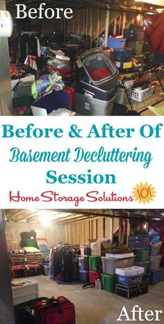 Before and after photos from Monica, who took the declutter basement #Declutter365 challenge {featured on Home Storage Solutions 101}