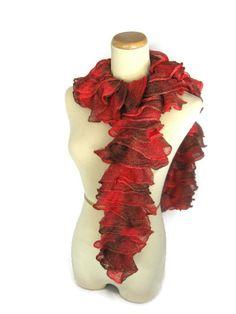Ruffle Scarf Knit Scarf Hand Knit Ruffle Scarf  by ArlenesBoutique, $40.00 #scarf
