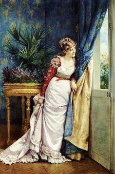 Auguste Toulmouche - Lady At The Window Awaitig the Visitor paint by the French artist Auguste Toulmouche (1829-1890)