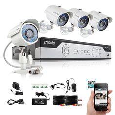 Zmodo 4 CH Channel 960H HDMI DVR 4 Outdoor CCTV Home Security Camera System #Zmodo