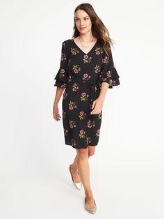 55b7724934db8 Ruffle-Sleeve Tie-Waist Shift Dress for Women