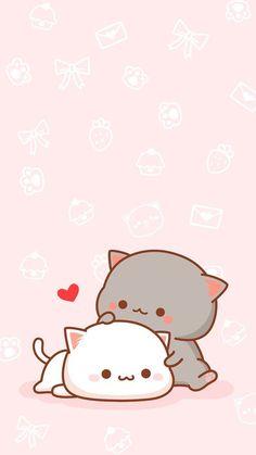 Nice screen image - Part No Name 11 - Cute & Kawaii Animal Drawings Wallpaper Gatos, Cute Cat Wallpaper, Kawaii Wallpaper, Chibi Wallpaper, Pink Wallpaper, Wallpaper Awesome, Animal Wallpaper, Drawing Wallpaper, Couple Wallpaper