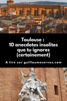 Connais-tu vraiment Toulouse (France) ? Découvre des anecdotes insolites que tu ignores certainement sur le Capitole, une morgue, les universités, la Daurade, St-Etienne… Quand je découvre une ville pour la 1ère fois, j'aime bien partager les anecdotes insolites que j'ai dénichées à droite et à gauche sur internet. Du coup, vu que cet été j'ai passé 2 nuits à Toulouse, l'occasion était trop belle pour ne pas y succomber. Toulouse France, St Etienne, Ignorant, Louvre, Gauche, Occasion, Building, Movie Posters, Movies
