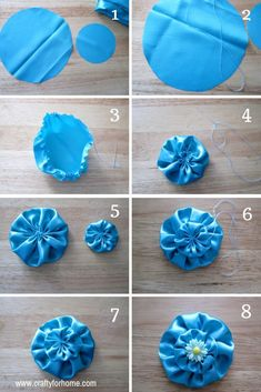 Learn how easy to make four different fabric flowers and you can use it for any crafts around the house embellish the cloth gift wrapping hair accessories also craft for sale. Making Fabric Flowers, Cloth Flowers, Felt Flowers, Flower Making, Diy Flowers, Fabric Flower Headbands, Potted Flowers, Flower Fabric, Fabric Roses