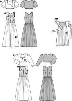 Simplicity Creative Group - Burda Style, Dirndl Dress Burda #8448 Front and Back Views