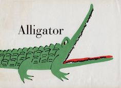 green Alligator illustration nursery decor zoo 1960s Alligator print vintage ABC page