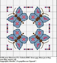 free cross stitch biscornu butterflys