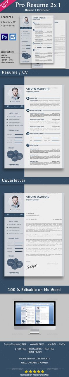 B\W Resume Template, Creative resume templates and Resume cv - 100 resume words