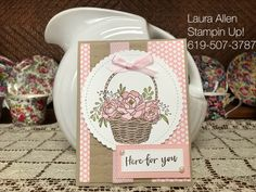 "I Love, Love this new Sale-A-Bration set from Stampin Up....It's just my style! I am going to make tons with it! You can get the set free with a qualifying purchase. Together the ""Blossoming Basket"" stamp set and the ""Basket Weave"" embossing folder are one of my all time favorite sets ever!i used the Stampin Blends to color."