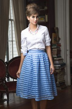 Park Ave. Skirt Blue - Shabby Apple 2015 Spring New Arrivals - Blue A-Line Skirt, Button Down White Blouse - Vintage Feel Outfit