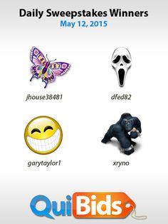 The Daily Sweeps Winners for May 12, 2015 are - jhouse38481, dfed82, garytaylor1 and xryno!