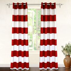 DriftAway Mia Stripe Room Darkening Grommet Unlined Window Curtains 2 Panels Each 52 Inch by 84 Inch Red out of 5 stars via 97 ratings See Buy Options in Home & Kitchen Grommet Curtains, Drapes Curtains, Curtain Panels, Velvet Curtains, Shower Curtains, Striped Room, Beautiful Curtains, Colorful Curtains, Red And White Curtains