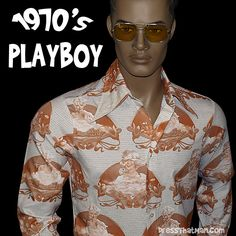 Vintage Mens 1970's Vargas Playboy Shirt
