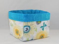 Turquoise, White and Yellow Floral Fabric Basket For Storage Or Gift Giving