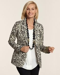 Chico's Jacquard Leopard Blazer #chicos Love this jacket, the one I have is reversible= 2 jackets in 1
