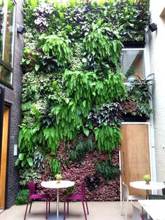 Vivid interior Living Wall by Scotscape at The Forge, restaurant in Camden Verticle Garden, Vertical Garden Design, Vertical Green Wall, Yoga Garden, Patio Interior, Garden Projects, Garden Ideas, Plant Design, Tropical Garden