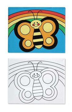 """Your child's creativity will fly sky-high when painting this whimsical butterfly! A """"rainbow"""" of paints, a mixing tray, and brush make it easy to complete this preprinted canvas """"masterpiece"""". A proud addition to the family art collection!"""