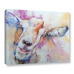 "Latitude Run Goat Painting Print on Wrapped Canvas Size: 8"" H x 10"" W x 2"" D"