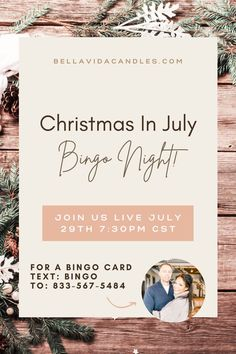 Join us LIVE, July 29th 7:30pm CST in our FB group: Bella Vida Family for Christmas bingo, prizes, and happy hour. For a bingo card, text: BINGO To: 833-567-5484. The first 20 to sign up receives a free gift with purchase. Christmas Bingo, Christmas In July, July Game, Best Smelling Candles, Relaxing Bathroom, Bingo Cards, Game Night, Fragrance Oil, Soy Candles