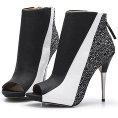 PEEP TOE ELEGANT BLACK AND WHITE ANKLE BOOTS VEGAN LEATHER (€57) ❤ liked on Polyvore featuring shoes, boots, ankle booties, booties, peep toe ankle bootie, peep-toe booties, faux leather booties, black and white ankle boots and vegan booties
