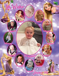 Tangled Monthly Collage   The best way to remember your child's first year is to make a photo collage of their monthly photos. This is the perfect memory to share with your family & friends on your child's special first birthday!  I also offer CUSTOM collages with ANY THEMES at all!  Quick turn around time and I guarantee you will LOVE IT!  Copyright © 2015 All rights reserved Anna Roze Design