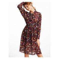 Florals Tie Neck Chiffon Shirt Dress ($26) ❤ liked on Polyvore featuring dresses, floral chiffon dress, red chiffon dress, floral shirt dress, neck ties and floral print chiffon dress