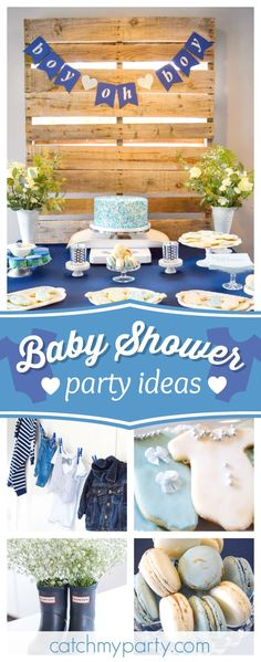 Boy oh Boy! It's a Sprinkle!! Check out the gorgeous vintage dessert table!! See more party ideas and share yours at CatchMyParty.com #babyshower #party
