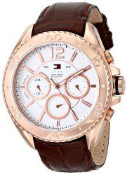 55b9fc5ee549 Tommy Hilfiger Men s 1791031 Rose Gold-Tone Watch with Brown Leather Band