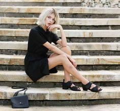 Monki Dress, Shellys London Sandals, Monki Bag