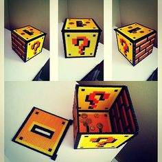 Super Mario coin box perler beads by theenmity