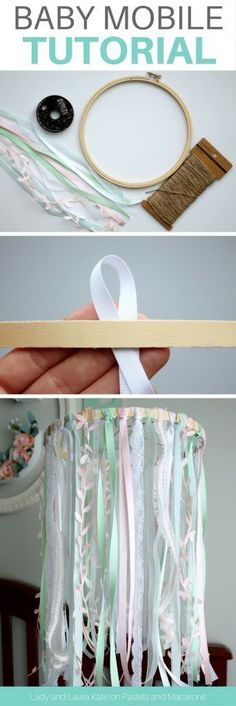 Make an embroidery hoop and lace DIY baby mobile tutorial without any craft skills. This Etsy inspired baby mobile will save you money by making it yo. - home ideas diy,home diy ideas cheap,home diy ideas easy Cool Baby, Baby Love, Fantastic Baby, Diy Para A Casa, Diy Bebe, How To Make Ribbon, Ribbon Diy, Diy Décoration, Easy Diy