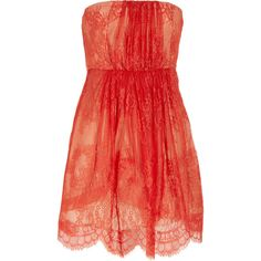 Tibi Strapless lace and silk dress (1.903.930 IDR) ❤ liked on Polyvore featuring dresses, vestidos, robes, short dresses, tomato red, red cocktail dress, red fitted dress, lace dress, short red cocktail dress and lace mini dress
