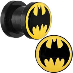0 Gauge Black Acrylic Batman Screw Fit Plug Set $8.99 #plugs #bodycandy #piercing #batman