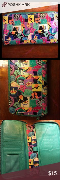 """🌎💕Cute Travel Wallet!💕🌎 Bright and fun wallet with removable wrist strap that has plenty of pockets and slots for all of your cards and travel documents! It is 9 inches long and 5"""" wide, so it can fit a standard plane boarding pass, and it even has a pen holder! Take this on your next trip and you will be the most organized one there! 😁🌎 Bags Wallets"""