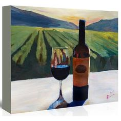 Americanflat 'Napa Valley Wine Bottle and Glass' by M Bleichner Original Painting on Wrapped Canvas Size: