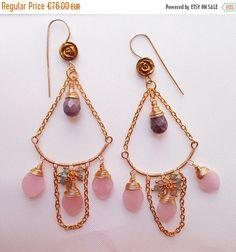 ON SALE Luxurious chandelier earrings quartz earrings pink