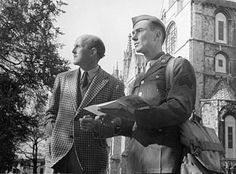 Michael Powell with John Sweet during filming of A Canterbury Tale, 1943.
