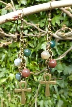 Indian Agate Gemstones & Antique Bronze Ankh Charm Earrings - Celtic Cross Earrings - Egyptian Cross - Gothic - Pagan - Wiccan - Hippy Magic by PhoebesBazaar on Etsy