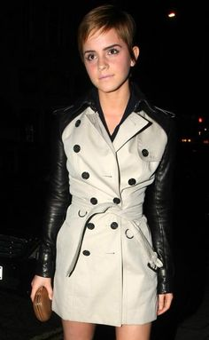 Emma Watson. Burberry leather/trench.