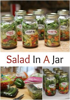 My new favorite summer-time meal is this delicious Salad In A Jar! Make a weeks worth (8 quarts) in 20 minutes and stay outside in this beautiful weather and not in the hot kitchen.